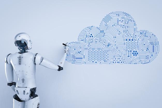 회로 구름과 3d 렌더링 인간형 로봇
