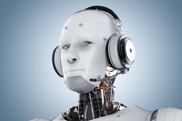 青い背景にヘッドセットを備えた3dレンダリングヒューマノイドロボット