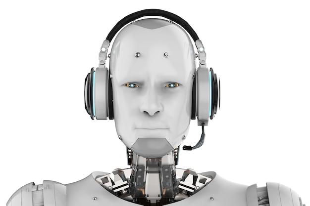 白い背景の上のヘッドセットとヒューマノイドロボットの3dレンダリング