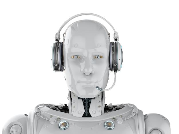 3d рендеринг гуманоидного робота с гарнитурой на белом фоне