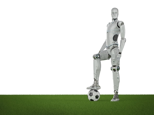 3d rendering humanoid robot with soccer ball