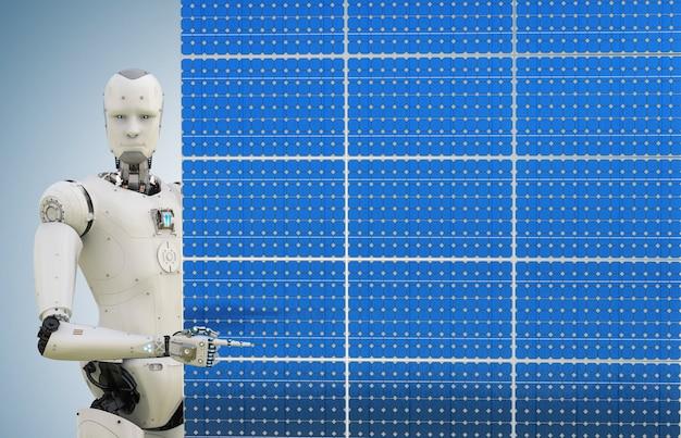 3d рендеринг гуманоидного робота с солнечной панелью на синем фоне