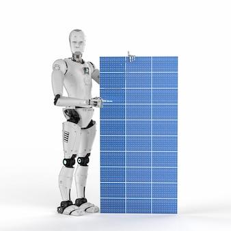 3d рендеринг гуманоидного робота с солнечной панелью на белом фоне