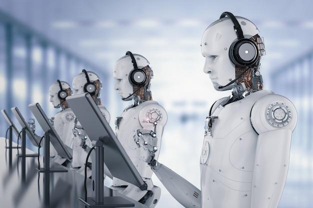 ヘッドセットとモニターで動作する3dレンダリングヒューマノイドロボット