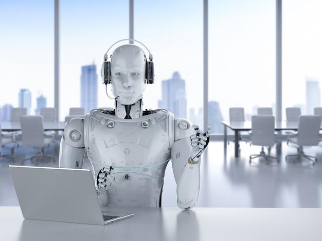 3d рендеринг робота-гуманоида, работающего с гарнитурой и ноутбуком