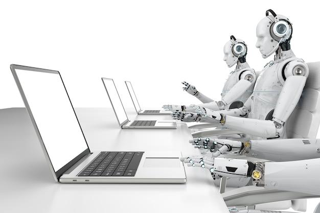 ヘッドセットとノートブックで動作する3dレンダリングヒューマノイドロボット