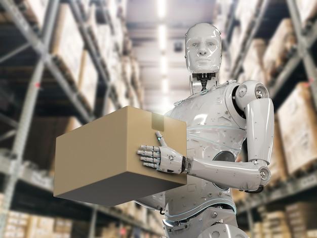 3d 렌더링 휴머노이드 로봇은 창고에서 판지 상자를 운반합니다.