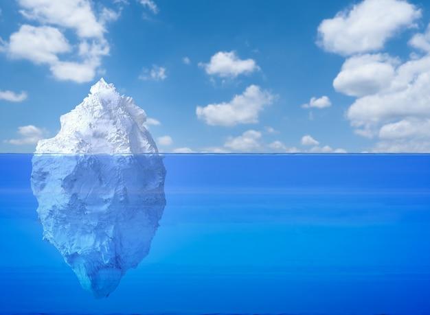 푸른 바다에 떠 있는 3d 렌더링 빙산