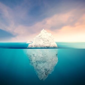 푸른 바다에 3d 렌더링 빙산 모델