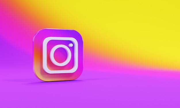 リアルな3dレンダリングアイコンロゴinstagram