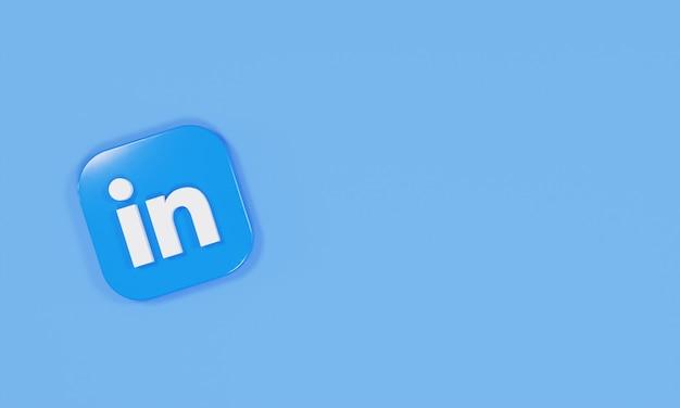 3d rendering icon logo linkedin