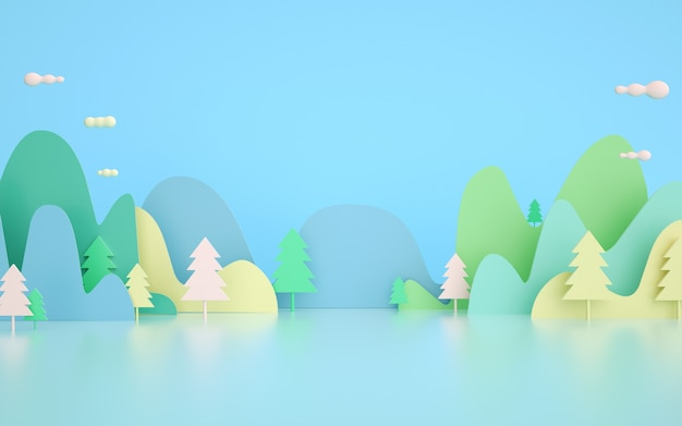 3d rendering. illuminate cartoon springs background