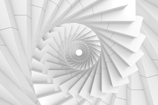 3d rendering. illusion decorating art of white spiral stairs background.