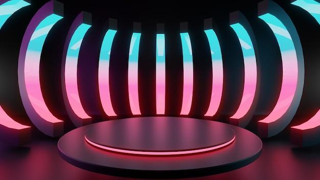3d 렌더링 그림, 파란색과 분홍색 빛으로 빛나는 원형 램프가 있는 추상 네온 조명 배경. 프레젠테이션을 위한 투시도가 있는 빈 스튜디오