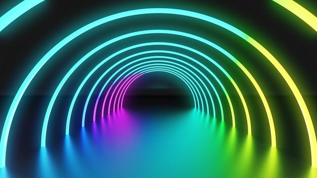 3d 렌더링 그림, 파란색 노란색과 분홍색 빛으로 빛나는 원형 램프가 있는 추상 네온 조명 배경. 프레젠테이션을 위한 투시도가 있는 빈 스튜디오
