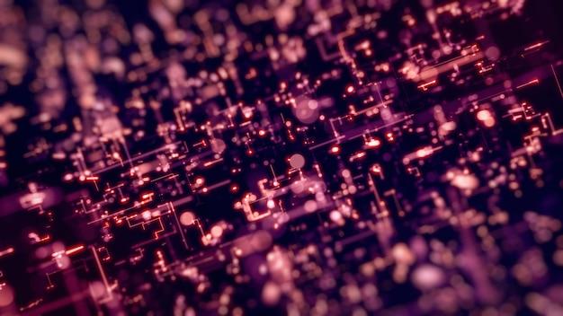 3 d レンダリング図抽象的なピンクのネオン ライト