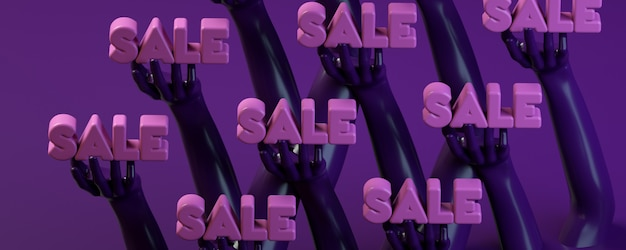 3d rendering illustration banner with hands holding circle in purple