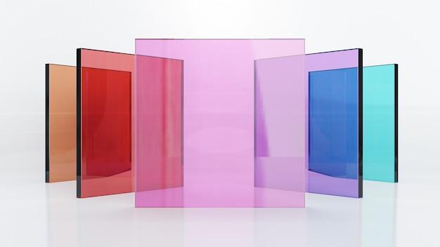 3dレンダリングイラスト、カラフルなガラスの正方形のシートが白い背景の中央に配置されます。プレゼンテーション用の画像。