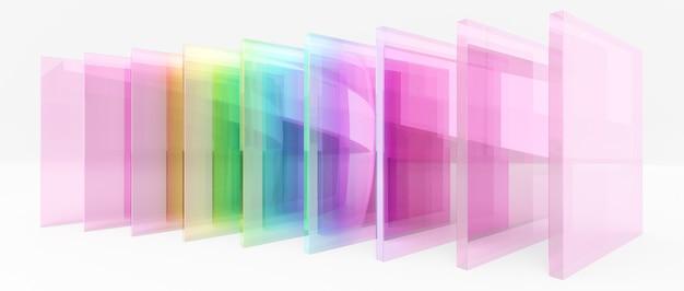 3dレンダリングのイラスト、カラフルな虹色のガラスの正方形のシートは、白い背景の中央に整列します。プレゼンテーション用の画像。