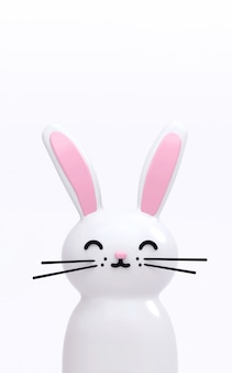 3d rendering illustration of  cute kawaii easter holiday white rabbit. funny bright animal wallpaper.