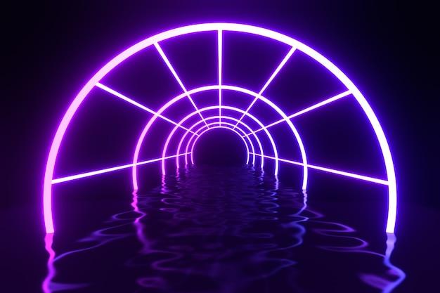 3d 렌더링 그림입니다. 복도와 물 왜곡이 공간 바탕 화면 배경을 반영하는 미래의 현대 실린더 튜브 네온 라이트 퍼플 블루