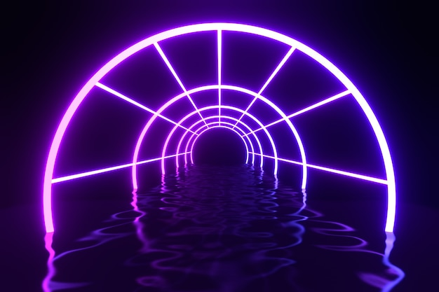 3d rendering illustration. futuristic modern cylinder tube neon light purple blue as corridor and water distort reflect space wallpaper background