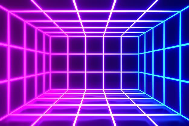 3d 렌더링 그림입니다. 보라색과 파란색 빛나는 네온 사각형 모양 빈 공간 바탕 화면 배경으로 미래의 현대 격자