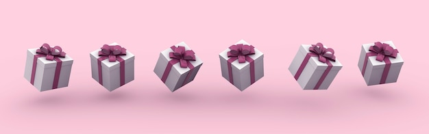3d rendering illustration of gift boxes with bows on a pink background