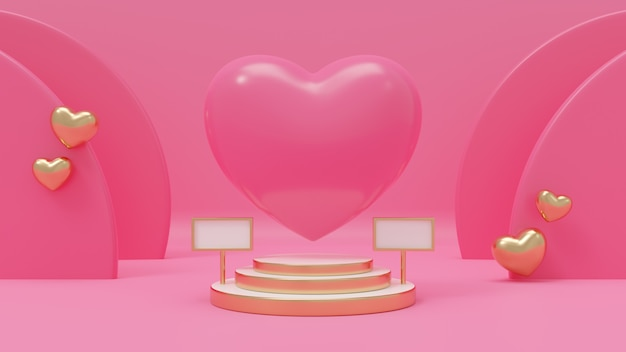3d rendering illustration of heart pink on premium podium, pink background, decorated with heart gold balloon for love, wedding, valentine's day, anniversary.