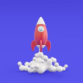 비행 로켓 비즈니스 시작 개념의 3d 렌더링 그림 아이콘 현대 유행 디자인