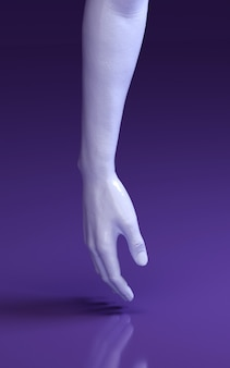 3d rendering illustration of man hands in purple studio touching floor. human body parts.