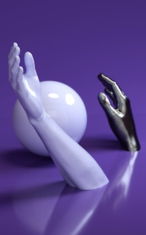 3d rendering illustration of man hands in purple studio with sphere. human body parts.