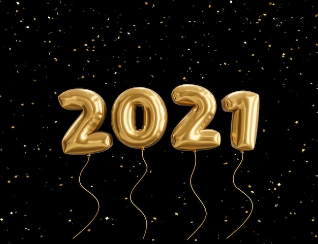 2021 새해 복 많이 받으세요, 골드 메탈릭 텍스트, 축제 포스터 또는 배너 디자인의 3d 렌더링 그림.