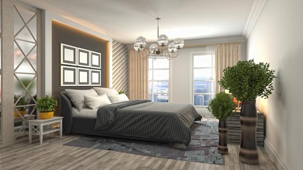 3d визуализация интерьера спальни