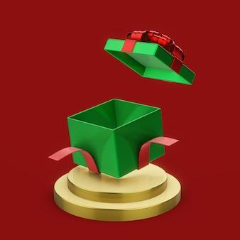선물 상자 열기, 새 해 개념으로 장식 된 기하학적 모양 연단의 3d 렌더링 그림