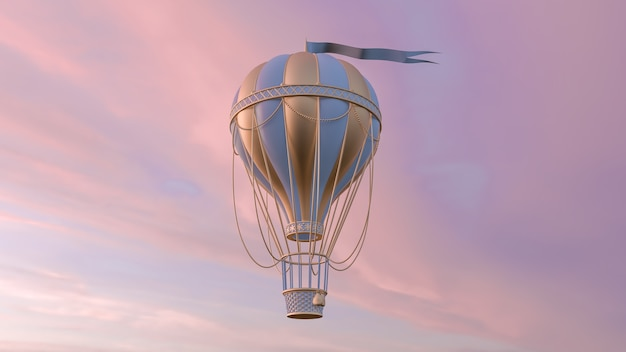3d визуализация иллюстрации воздушного шара и неба современный модный дизайн