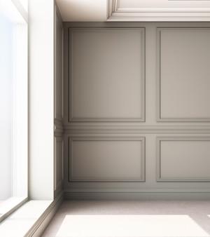 Иллюстрация перевода 3d живущей комнаты с роскошной классической панелью стены