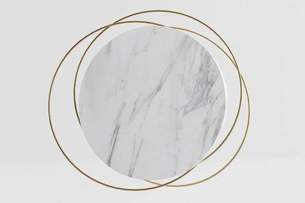 金の指輪の背景と大理石の円柱の背景の3dレンダリングイラスト