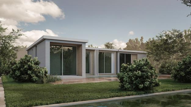 현대 집의 3d 렌더링 그림