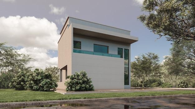 現代の家の3dレンダリングイラスト