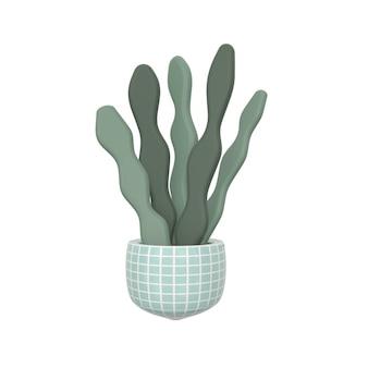 背景に分離された鍋の植物の3dレンダリングイラスト