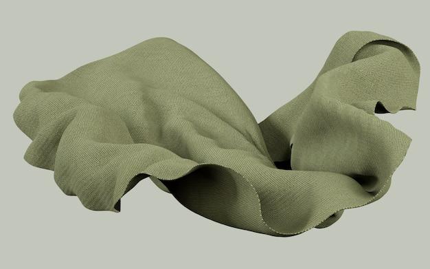 平らな背景に柔らかい布素朴な緑素材の3 dレンダリング図