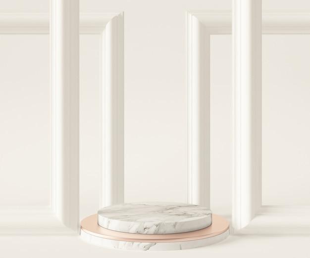 白い大理石の台座とモダンな装飾の3 dレンダリング図
