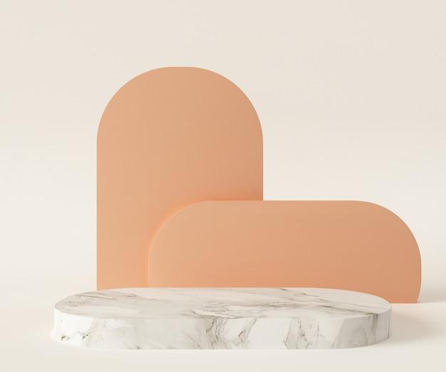 흰색 대리석 받침대와 현대적인 장식의 3d 렌더링 그림