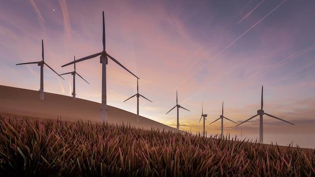 3d визуализация иллюстрации устойчивой энергии ветряных турбин