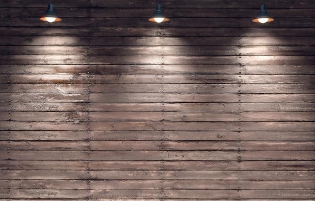 3つの掛かるランプが付いている木のパネルの壁の3 dレンダリングのイラスト。指向性ライト。テキストのための場所。