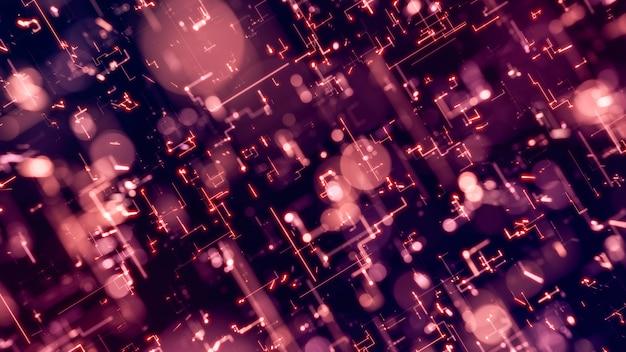 3 d レンダリング イラスト ピンク光るエネルギー トレイル