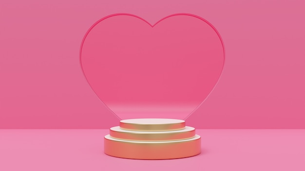3d rendering illustration of premium podium, pink background, decorated with heart wall for love, wedding, valentine's day, anniversary.