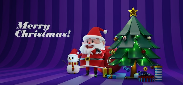 3d rendering illustration of santa claus character carrying giant red bag and snowman