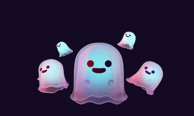 3d rendering illustration set of cute floating ghost characters isolated on black